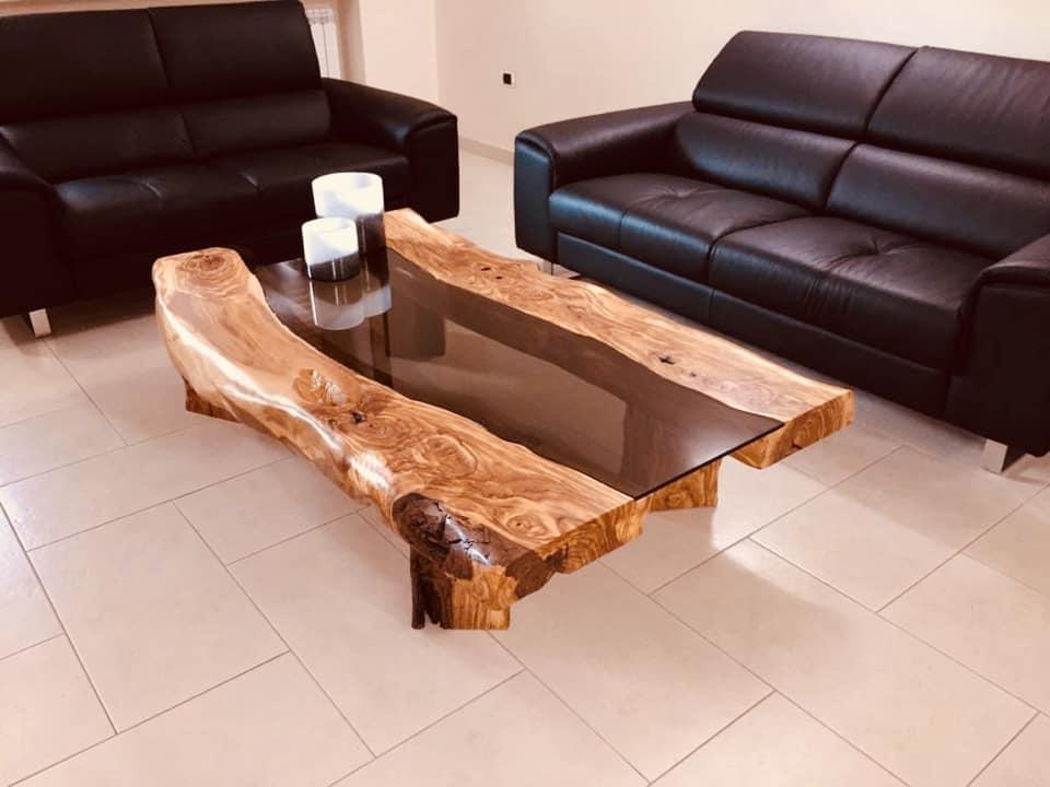 Tavolino da salotto in legno di Ulivo - Arte Rustica Santoro ...